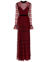 Philosophy Di Lorenzo Serafini Red Embroidered Lace Tiered Gown