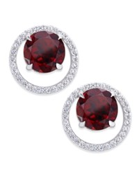 Macy's Garnet 1 3 8 Ct. T.W. And Diamond 1 6 Ct. T.W. Round Halo Stud Earrings In Sterling Silver