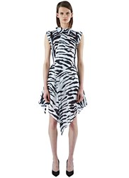Aganovich Organza Asymmetric Tiger Print Dress White