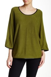 Colour Works Bell Sleeve Faux Leather Trim Pullover Green