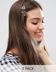 Asos Pack Of 2 Moon And Star Hair Clips Rhodium Silver