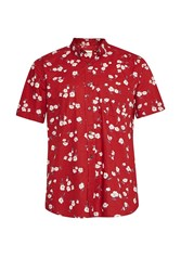 French Connection Men's Fats Floral Short Sleeved Shirt Red