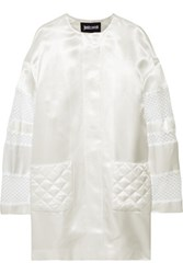 Just Cavalli Embroidered Tulle And Satin Twill Coat Off White