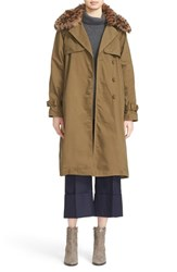 Sea Women's Cotton Blend Jacket With Genuine Shearling Trim