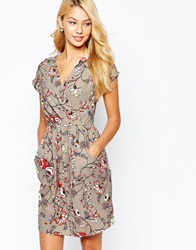 Closet Wrap Front Pleated Pencil Dress Greyfloral