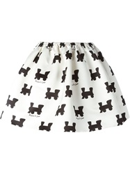 Au Jour Le Jour Train Motif Skirt White
