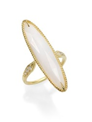 Ila Lorena White Agate Diamond And 14K Yellow Gold Long Oval Ring Gold Agate
