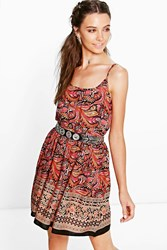 Boohoo Strappy Paisley Sundress Multi