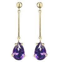 Ewa 9Ct Gold And Amethyst Teardrop Earrings Gold Purple