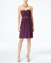 Adrianna Papell Strapless Ruched Dress Currant
