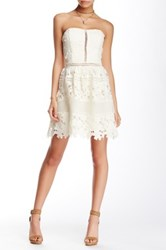 Romeo And Juliet Couture Strapless Fit Flare Lace Dress White