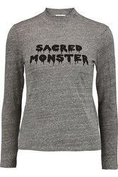 Ag Jeans Alexa Chung Sacred Monster Printed Jersey Top Gray