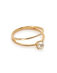 Bing Bang Faux Pearl Double Band Ring Gold