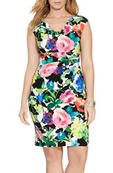 Plus Size Women's Lauren Ralph Lauren Floral Print Drape Neck Jersey Sheath Dress