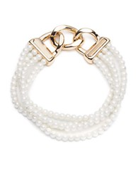 Anne Klein Stretchy Faux Pearl And Chain Bracelet