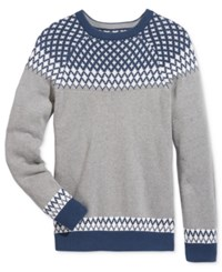 American Rag Men's Fair Isle Print Sweater Only At Macy's Ar Pewter Hthr