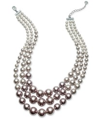 Charter Club Silver Tone Three Row Ombre Beaded Collar Necklace Only At Macy's