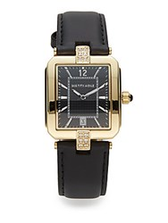Saks Fifth Avenue Goldtone Stainless Steel Black Leather Strap Watch Black Gold