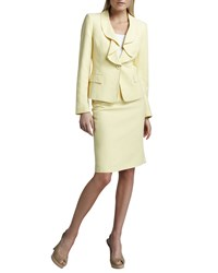 Albert Nipon Ruffled Silk Linen Suit Lemon