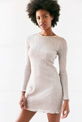 Kimchi And Blue Claudia Crinkle Shimmer Long Sleeve Dress Copper