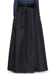 Dries Van Noten 'Sion' Chevron Brocade Wrap Maxi Skirt Black