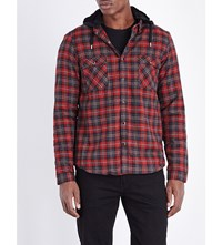 The Kooples Faux Fur Lining Cotton Shirt Red Grey