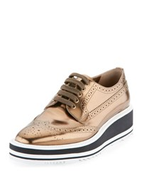 Prada Metallic Leather Microsole Lace Up Bronze Bronzo