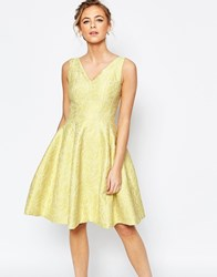 Coast Amberley Lace Textured Fit And Flare Dress In Lime Green