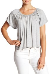 Lush Lace Up Back Peasant Tee Gray