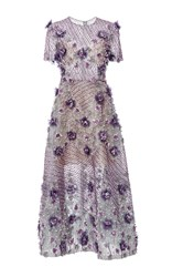Marchesa Bugle Beaded Tea Length Dress Purple