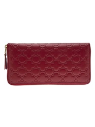 Comme Des Garcons Play Floral Embossed Zip Wallet Red