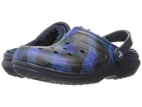 Crocs Classic Lined Graphic Clog Navy Cerulean Blue Clog Shoes Black