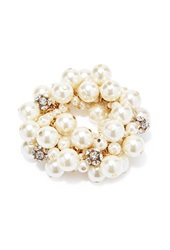 Forever 21 Rhinestone Faux Pearl Bracelet Gold Cream