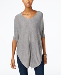 Ny Collection Heather Knit Pleat Front Poncho Top Grey Heather