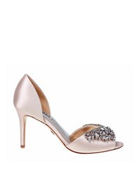 Badgley Mischka Candance Satin Open Toe Pumps Light Pink