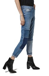 Women's Topshop Patchwork High Rise Mom Jeans