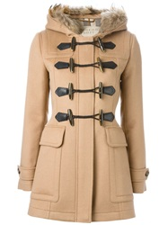 Burberry Brit Trimmed Hood Duffle Coat Nude And Neutrals
