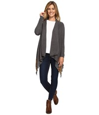 Woolrich Long Way Fringe Cardigan Gray Heather Women's Sweater