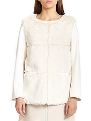 Courreges Faux Fur And Stretch Wool Pullover Off White