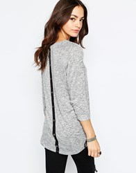 Only Button Back Jersey Tunic Grey