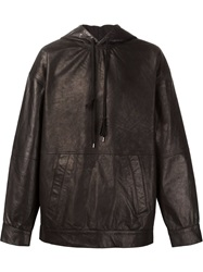 Y Project Horse Leather Hoodie Black