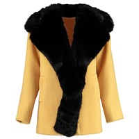 By Sun Heavy Wool Coat With Faux Fur Collar Yellow