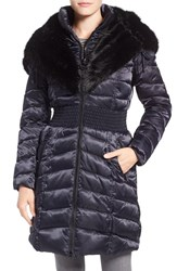 Laundry By Shelli Segal Women's Faux Fur Trim Hooded Puffer Coat Mystic Blue