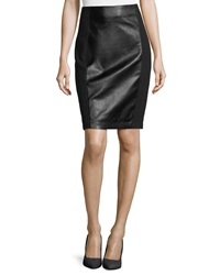 Laundry By Shelli Segal Faux Leather Ponte Pencil Skirt Black