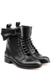 Red Valentino Leather Lace Up Ankle Boots With Bow Black