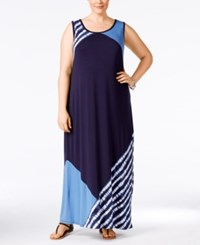 Styleandco. Style And Co. Plus Size Colorblocked Sleeveless Maxi Dress Only At Macy's Shibori Stripe