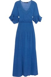 Vix Swimwear Pointelle Trimmed Crinkled Cotton Maxi Dress Royal Blue