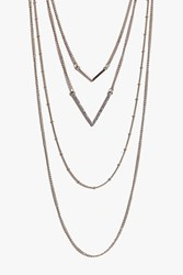 Boohoo Double Chevron Layered Skinny Necklace Gold