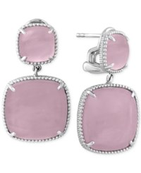 Effy Collection Serenity By Effy Rose Quartz Drop Earrings 27 9 10 Ct. T.W. In Sterling Silver