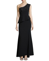 Sue Wong One Shoulder Beaded Peplum Gown
